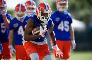 University of Florida receiver Van Jefferson catches a pass during a drill in the Florida Gators first practice of spring camp- Florida Gators football- 1280x853
