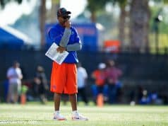 University of Florida special teams coordinator and running backs coach Greg Knox watch the Florida Gators work during a special teams drill- Florida Gators football- 1280x853