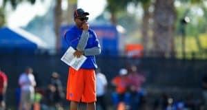 University of Florida special teams coordinator and running backs coach Greg Knox watch the Florida Gators work during a special teams drill- Florida Gators football- 1280x853