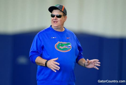 Florida Gators defensive line coach Sal Sunseri during spring practice 2018- 1280x853