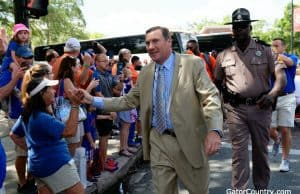 Florida Gators head coach Dan Mullen at Gator Walk before the Orange and Blue game-1280x853