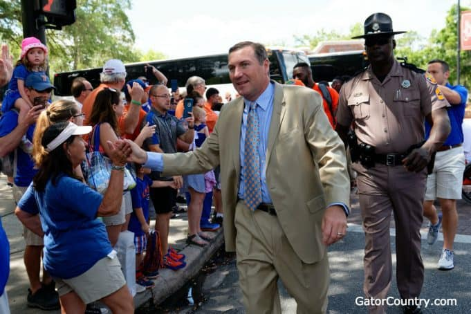 Florida Gators head coach Dan Mullen at Gator Walk before the Orange and Blue game-1280x853