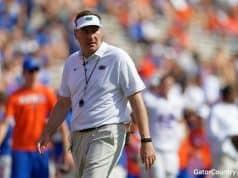 Florida Gators head coach Dan Mullen during the Orange and Blue game- 1280x853