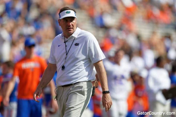 Florida Gators head coach Dan Mullen during the Orange and Blue game- 1280x853