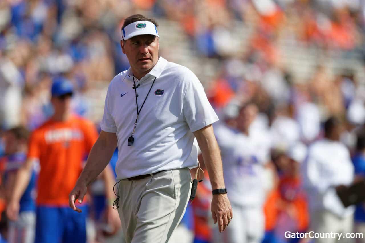 Florida-gators-head-coach-dan-mullen-during-the-orange-and-blue-game