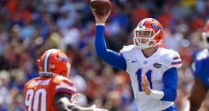 Florida Gators quarterback Kyle Trask throws in the Orange and Blue game 2018- 1280x853