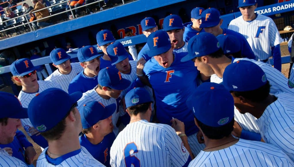 The University of Florida Gators get ready before their first matchup against the FSU Seminoles- Florida Gators baseball- 1280x852