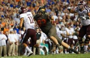 University of Florida defensive tackle Taven Bryan sacks Texas A&M quarterback Kellen Mond- Florida Gators football- 1280x853