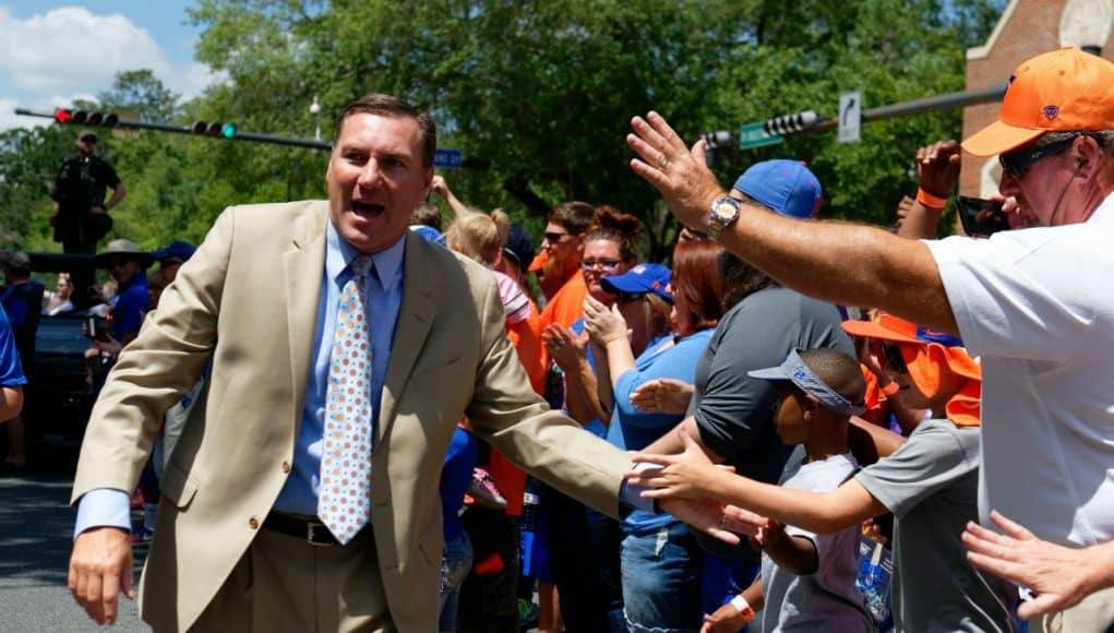 University of Florida head coach Dan Mullen greets fans during Gators Walk before his first Orange and Blue game as head coach of the Florida Gators- Florida Gators football- 1280x853