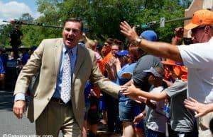 University of Florida head coach Dan Mullen greets fans during Gators Walk before his first Orange and Blue game as head coach of the Florida Gators- Florida Gators football- 1280x853