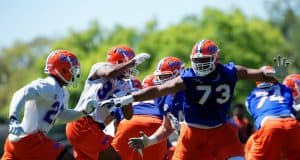 University of Florida offensive tackle Martez Ivey in pass protection during the Florida Gators second spring practice- Florida Gators football- 1280x853