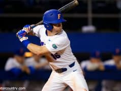 University of Florida outfielder Wil Dalton loads before taking a swing during the Florida Gators season opener against Siena- Florida Gators baseball- 1280x853