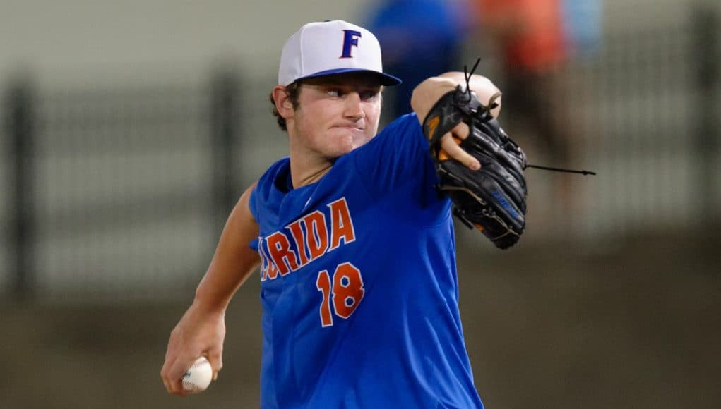 University of Florida pitcher Tyler Dyson throws against Wake Forest in the 2017 Gainesville Super Regional- Florida Gators baseball- 1280x852