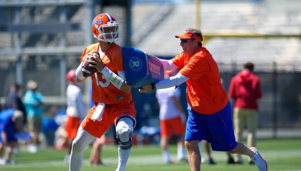 University of Florida quarterback Feleipe Franks goes through a drill during the Gators second spring practice with Dan Mullen- Florida Gators football- 1280x853