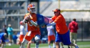 University of Florida quarterback Feleipe Franks goes through a drill during the Gators second spring practice with Dan Mullen- Florida Gators football- 1280x853