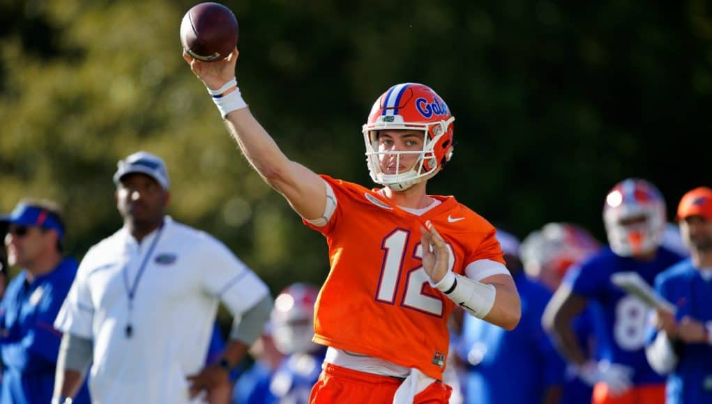 University of Florida quarterback Jake Allen throws a pass during the Florida Gators first spring practice- Florida Gators football -1280x853