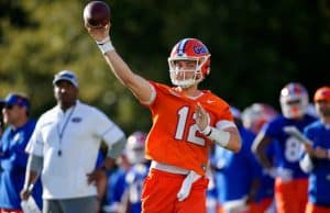 University of Florida quarterback Jake Allen throws a pass during the Florida Gators first spring practice- Florida Gators football -1280x853