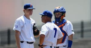 Kevin O'Sullivan visits University of Florida freshman pitcher Jack Leftwich during a loss to the Auburn Tigers- Florida Gators baseball- 1280x853