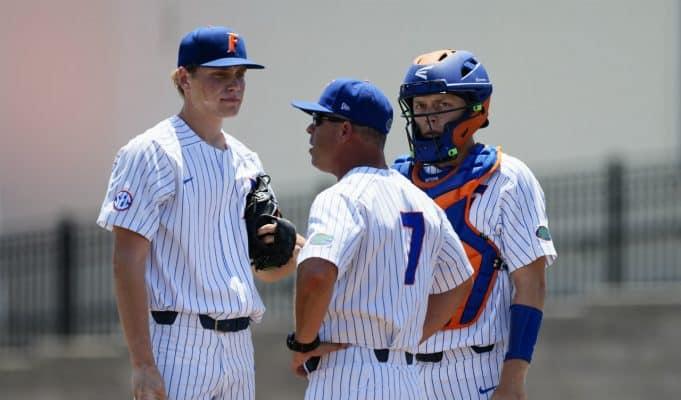 Kevin O'Sullivan visits University of Florida freshman pitcher Jack Leftwich during a loss to the Auburn Tigers- Florida Gators baseball- 1280x853