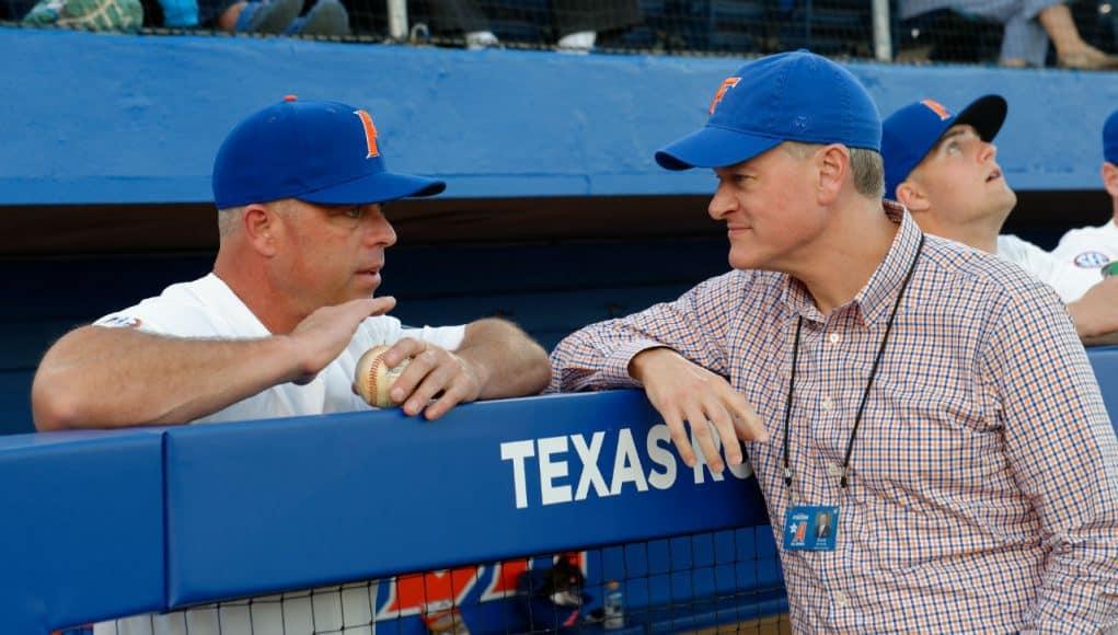University of Florida Athletic Director Scott Stricklin meets with head baseball coach Kevin O'Sullivan prior to the Gators' season opener against Siena- Florida Gators baseball- 1280x852