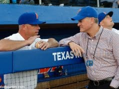 University of Florida Athletic Director Scott Stricklin meets with head baseball coach Kevin O'Sullivan prior to the Gators' season opener against Siena- Florida Gators baseball- 1280x852