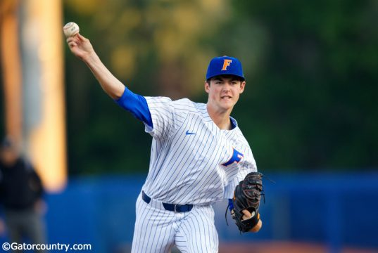 University of Florida freshman Tommy Mace delivers a fastball to the plate in a win over the Florida State Seminoles- Florida Gators baseball- 1280x853