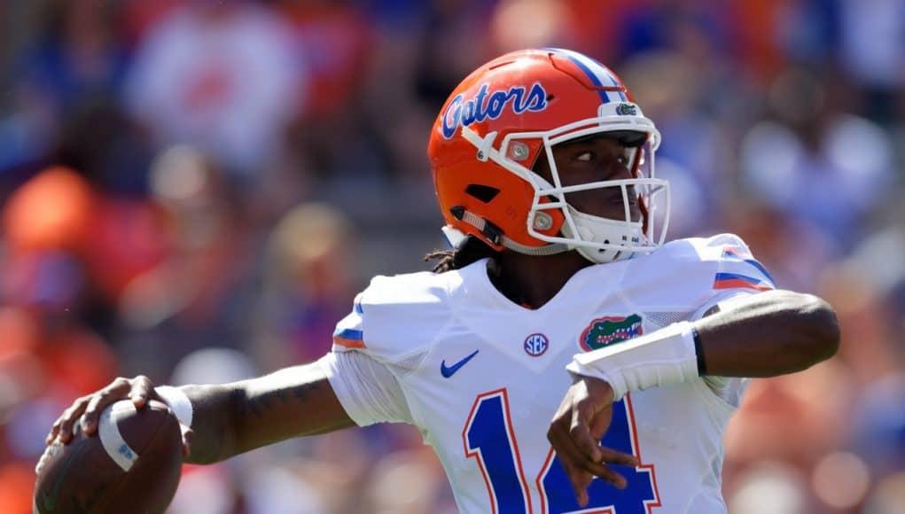 University of Florida freshman quarterback Emory Jones throws a pass during the 2017 Orange and Blue Debut- Florida Gators football- 1280x853