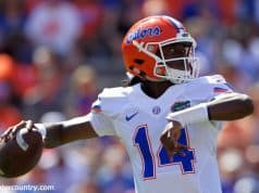 University of Florida freshman quarterback Emory Jones throws a pass during the 2017 Orange and Blue Debut- Florida Gators football- 1280x853