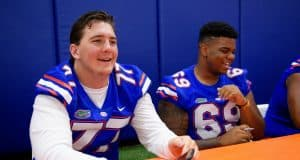 University of Florida offensive lineman Andrew Mike signs autographs at the Gators fan day in 2017- Florida Gators football- 1280x854