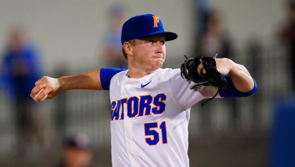University of Florida pitcher Brady Singer delivers to the plate in the season opener against Stony Brook / Gator Country photo by David Bowie
