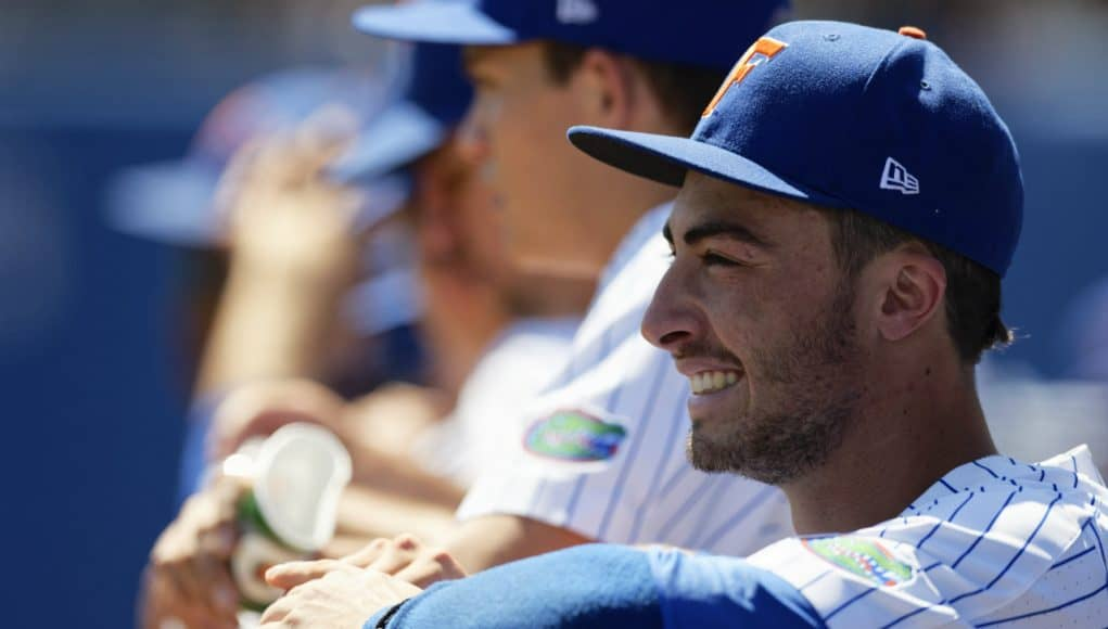 University of Florida third baseman Jonathan India smiles in the dugout during a series clinching win over Auburn- Florida Gators baseball- 1280x853