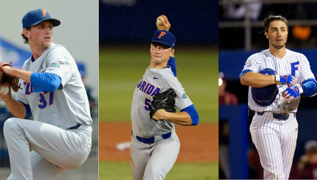 Jackson Kowar (left), Brady Singer (center) and Jonathan India (right) became the first three Florida Gators teammates to be selected in the first round of the MLB Draft in the same year-1247x624-florida gators baseball