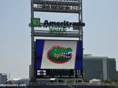 The University of Florida logo on the Jumbotron at TD Ameritrade Park as the Florida Gators practice for the first time at the 2018 College World Series- Florida Gators baseball- 1280x850