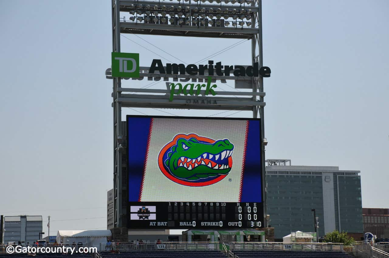 The-university-of-florida-logo-on-the-jumbotron-at-td-ameritrade-park-as-the-florida-gators-practice-for-the-first-time-at-the-2018-college-world-series-florida-gators-baseball-1280x850