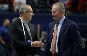 Dec 2, 2017; Atlanta, GA, USA; Southeastern Conference commissioner Greg Sankey (left) talks with Auburn Tigers athletic director Jay Jacobs before the SEC Championship game at Mercedes-Benz Stadium between the Auburn Tigers and the Georgia Bulldogs. Mandatory Credit: Marvin Gentry-USA TODAY Sports