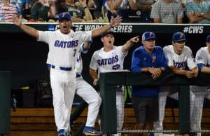 Jun 17, 2018; Omaha, NE, USA; Florida Gators head coach Kevin O'Sullivan calls for a balk that brings in a run in the third inning against the Texas Tech Red Raiders during the College World Series at TD Ameritrade Park. Mandatory Credit: Steven Branscombe-USA TODAY Sports