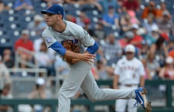 Jun 19, 2018; Omaha, NE, USA; Florida Gators pitcher Jackson Kowar (37) pitches in the first inning against the Texas Longhorns in the College World Series at TD Ameritrade Park. Mandatory Credit: Steven Branscombe-USA TODAY Sports