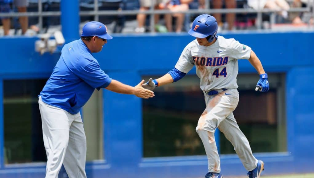 University of Florida outfielder Austin Langworthy rounds third after a home run against the Auburn Tigers in the Gainesville Super Regional- Florida Gators baseball- 1280x853