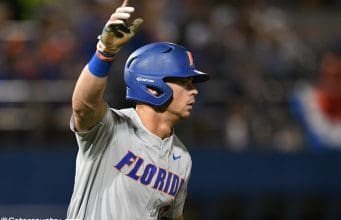 University of Florida outfielder Wil Dalton reacts to a home run in the fourth inning against the Jacksonville Dolphins in the Gainesville Regional- Florida Gators baseball- 1280x853