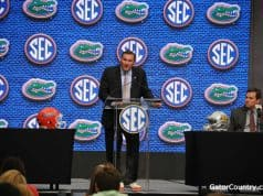Florida Gators head coach Dan Mullen speaks at SEC Media Days- 1280x850