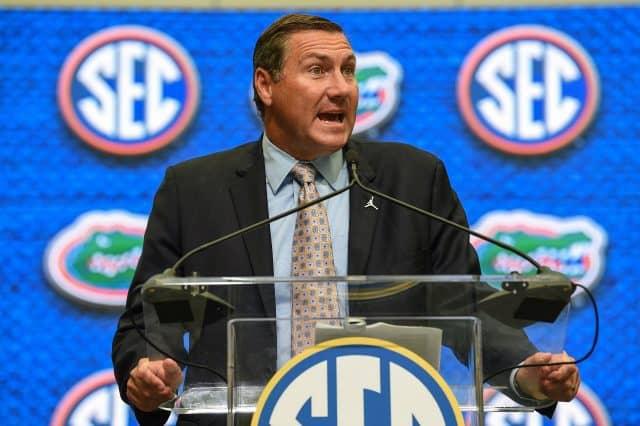 Florida Gators head coach Dan Mullen speaks at SEC Media Days in Atlanta-1280x852