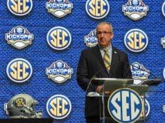 Jul 16, 2018; Atlanta, GA, USA; SEC commissioner Greg Sankey speaks during SEC football media day at the College Football Hall of Fame. Mandatory Credit: Dale Zanine-USA TODAY Sports