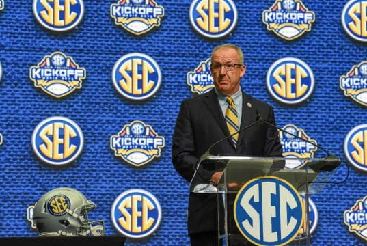 Jul 16, 2018; Atlanta, GA, USA; SEC commissioner Greg Sankey speaks during SEC football media day at the College Football Hall of Fame. Mandatory Credit: Dale Zanine-USA TODAY Sports