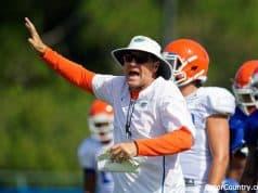 Florida Gators head coach Dan Mullen during fall camp 2018-1280x853