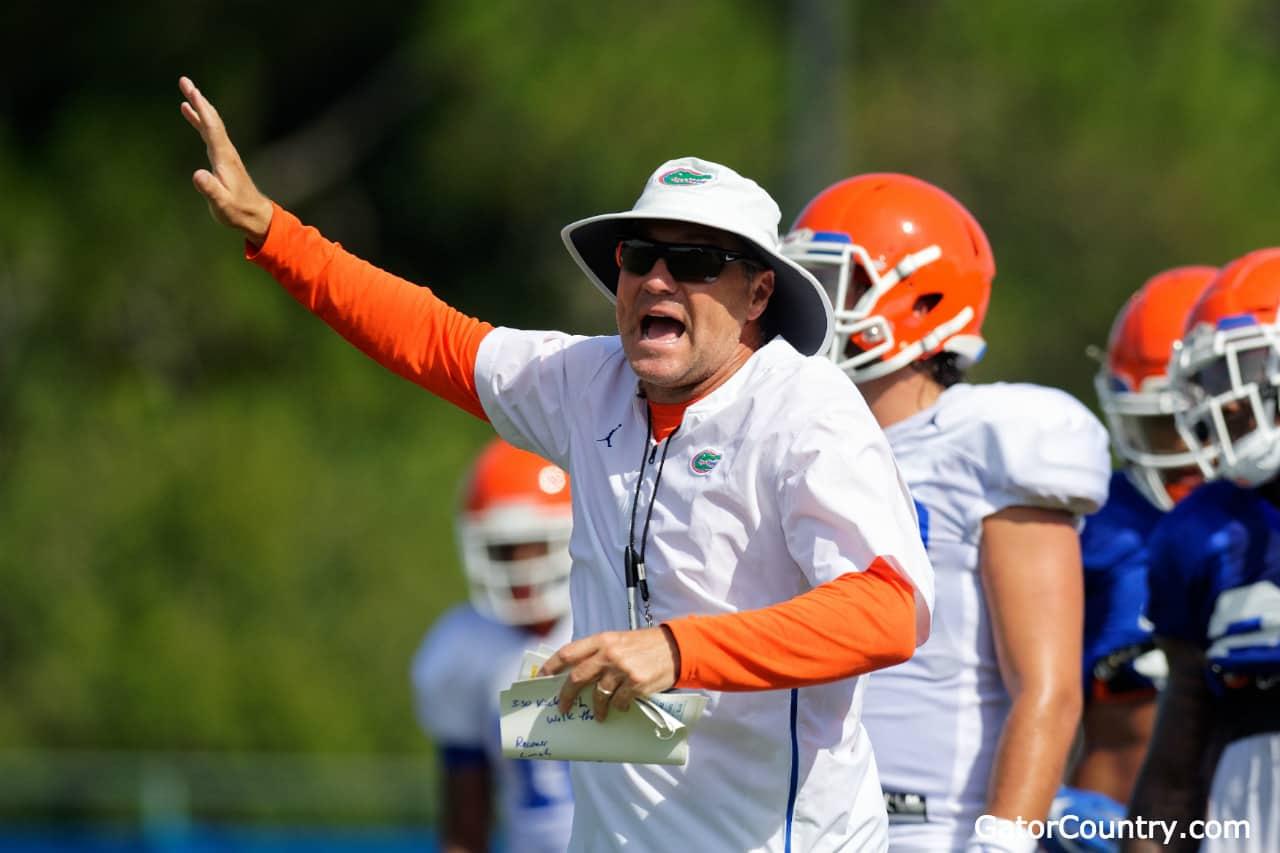 Florida-gators-head-coach-dan-mullen-during-fall-camp-2018