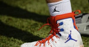 The new Florida Gators Nike Jumpman cleats as the Gators run drills and scrimmages as they continue fall practice and preparing for the first game of the season- Florida Gators football- 1280x853