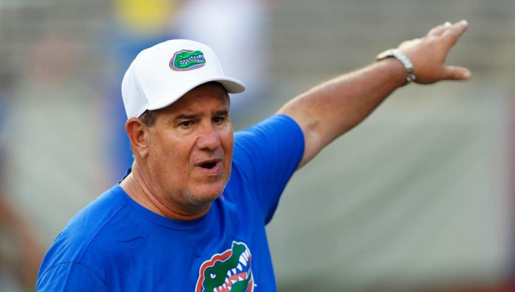 University of Florida defensive line coach Sal Sunseri taking campers through drills during Friday Night Lights- Florida Gators football- 1280x853