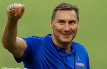 University of Florida head coach Dan Mullen speaks to campers at the Florida Gators Friday Night Lights football camp in 2018- Florida Gators football- 1280x853
