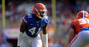 University of Florida linebacker James Houston lines up on defense during the Florida Gators 2018 spring game- Florida Gators football- 1280x873