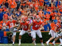 University of Florida long snapper Ryan Farr (41) runs down the field as Johnny Townsend punts during a win over Vanderbilt in 2017- Florida Gators football- 1280x852